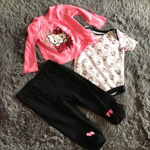 HELLO KITTY 3 piece outfit- sweater, onesie & pant